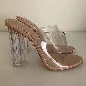 Public Desire Clear Perspex Block Heel, Size 7